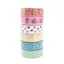 Kit com 6 washi tapes – Menta, branco e rosa com padrões dourados de bolinhas, losangos, corações, marble 3
