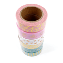 Kit com 6 washi tapes – Menta, branco e rosa com padrões dourados de bolinhas, losangos, corações, marble 4