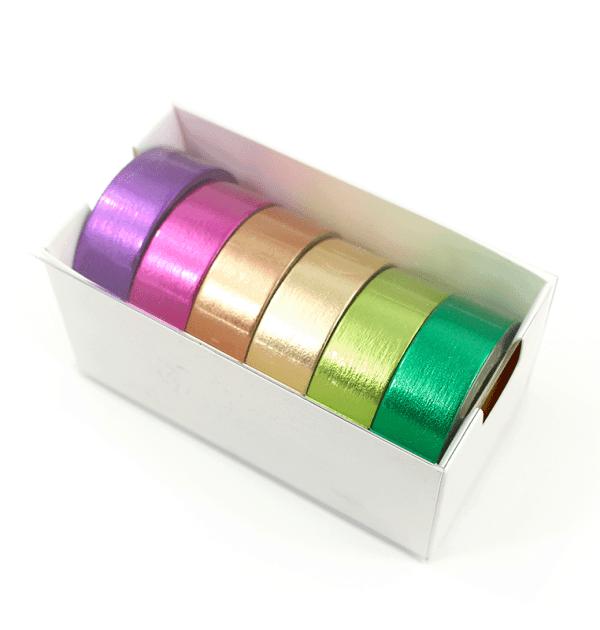 Kit com 6 washi tapes – Metalizada - Roxo, pink, laranja, amarelo, verde e verde claro