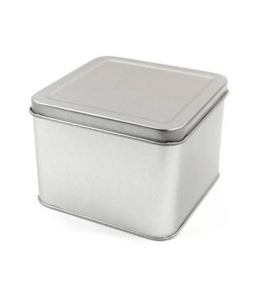 Latinha - Quadrada prata - Grande 11 x 11 x 8 cm