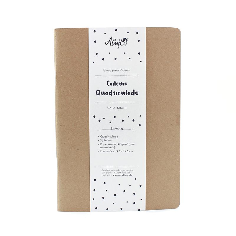 Planner A.Craft – Bloco caderno quadriculado capa kraft (nova versão)
