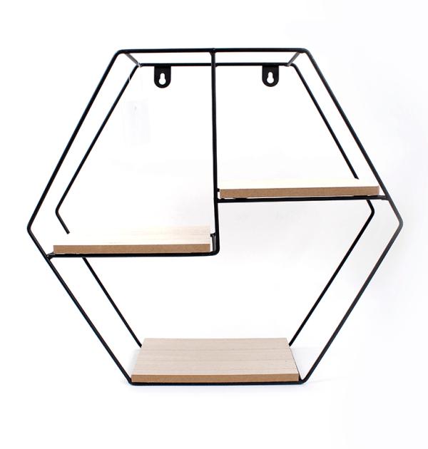 Prateleira hexgonal - Metal preto e madeira