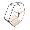 Prateleira hexgonal – Metal preto e madeira3