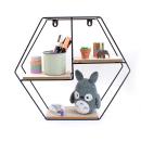 Prateleira hexgonal – Metal preto e madeira4