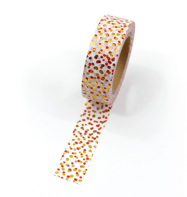 Washi tape – Bolinhas irregulares vermelho e dourado