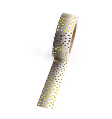 Washi tape – Degradê preto e branco com bolinhas douradas