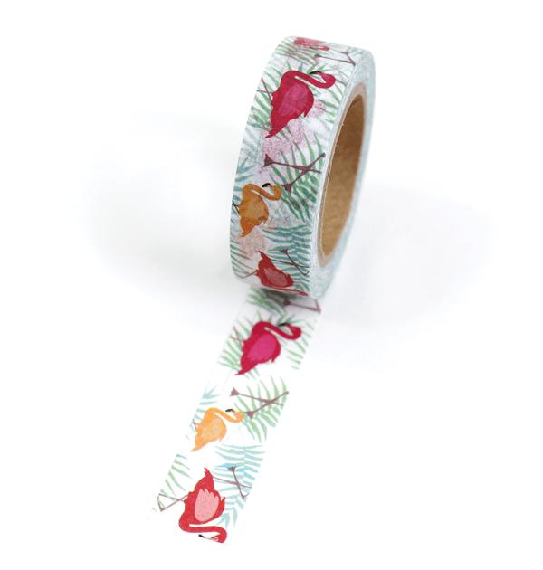Washi tape – Flamingos e folhas