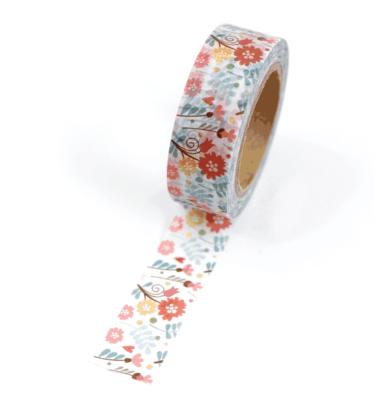 Washi tape – Floral delicado verde, vermelho, amarelo e marrom