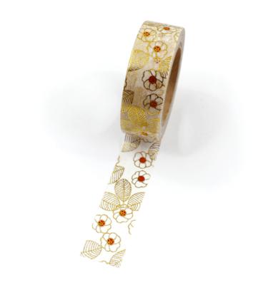 Washi tape – Floral dourado e vermelho