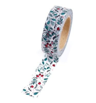 Washi tape – Floral vermelho e verde