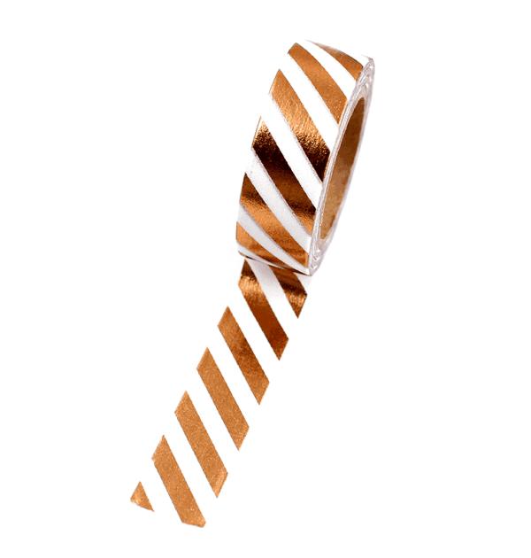 Washi tape – Listras diagonais branco e cobre