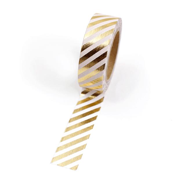 Washi tape – Listras diagonais branco e dourado