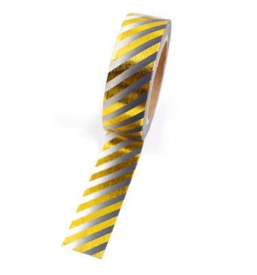 Washi tape – Listras diagonais dourado e degradê preto e branco