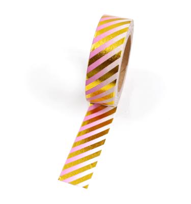 Washi tape – Listras diagonais dourado e degradê rosa e branco