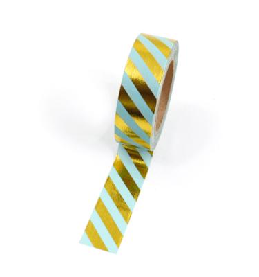 Washi tape – Listras diagonais menta e dourado