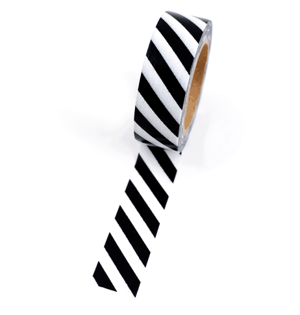 Washi tape – Listras diagonais preto e branco