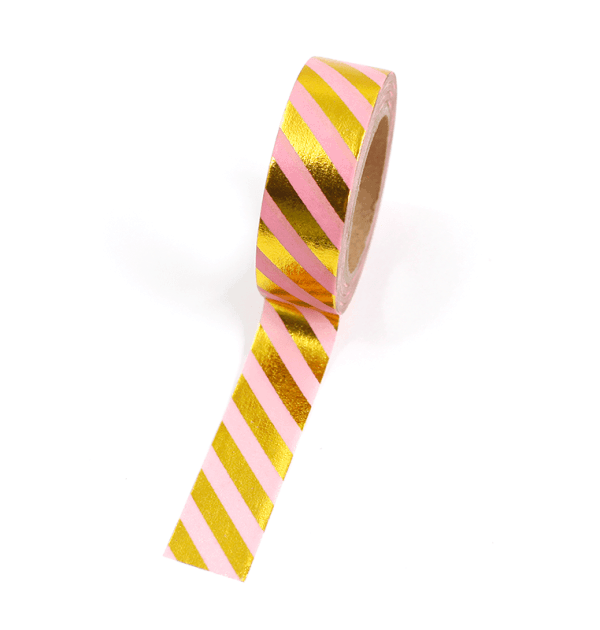 Washi tape – Listras diagonais rosa e dourado