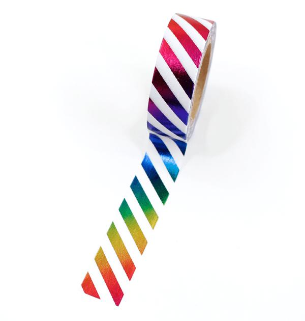 Washi tape – Llistras colorida branco e colorido metalizado