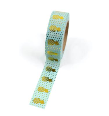 Washi tape – Menta com abacaxi e bolinhas douradas