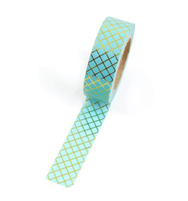 Washi tape – Menta com linhas douradas