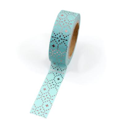 Washi tape – Menta com padrões de traçoes e pontos rose gold