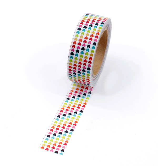 Washi tape – Mini corações coloridos
