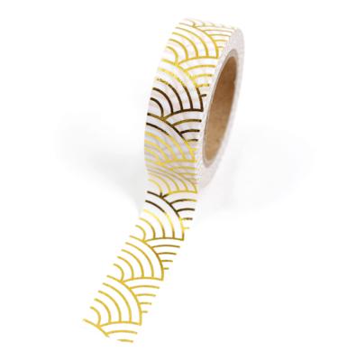 Washi tape – Onda japonesa branco e dourada