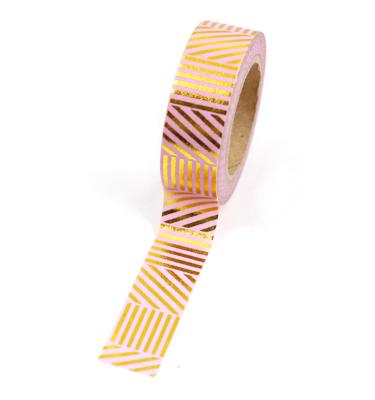Washi tape – Padrões listrados rosa e dourado