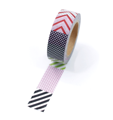 Washi tape – Padrões poá, chevron, listrado e xadrez coloridos