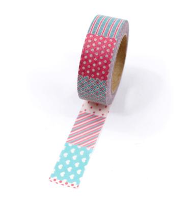 Washi tape – Padrões rosa e azul com corações, quadrados e bolinhas