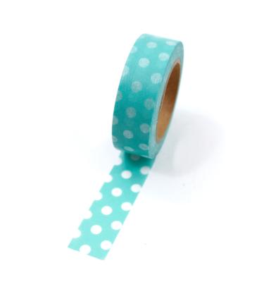 Washi tape – Poá grande verde oceano com bolinhas brancas
