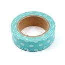 Washi tape – Poá grande verde oceano com bolinhas brancas3