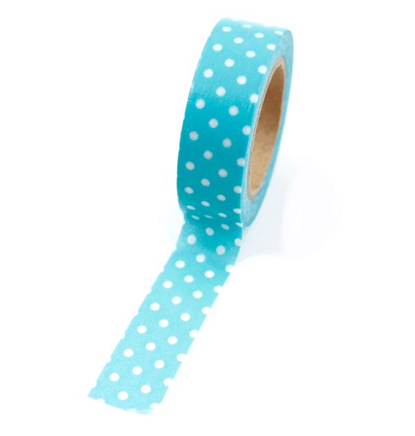 Washi tape – Poá verde oceano com bolinhas brancas