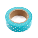Washi tape – Poá verde oceano com bolinhas brancas3