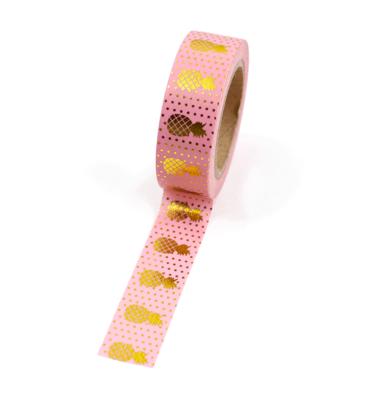 Washi tape – Rosa com abacaxi e bolinhas douradas