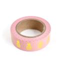 Washi tape – Rosa com abacaxi e bolinhas douradas3
