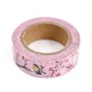 Washi tape – Rosa com flores de cerejeira e pássaros3