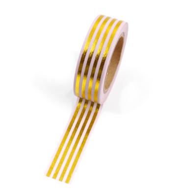 Washi tape – Rosa com listras douradas