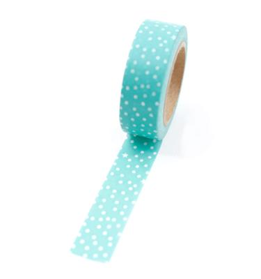 Washi tape – Verde oceano com bolinhas e estrelas brancas