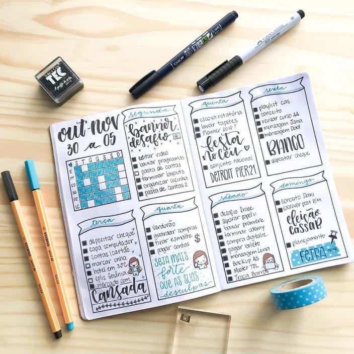 Planner ou bullet journal organização
