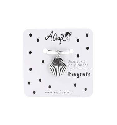 Acessório para planner A.Craft – Pingente prata – Concha