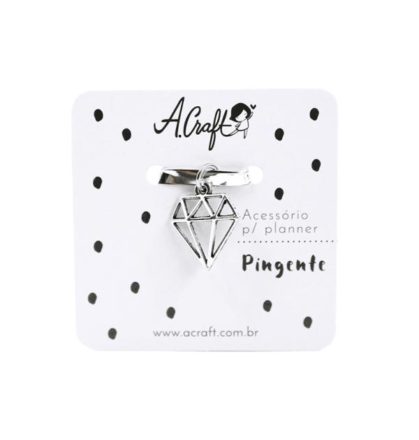 Acessório para planner A.Craft – Pingente prata – Diamante