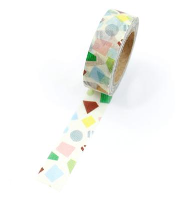 Washi tape – Amarelo claro com formas geométricas coloridas