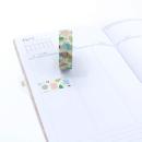 Washi tape – Amarelo claro com formas geométricas coloridas3