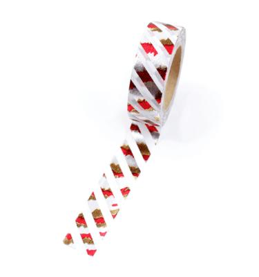 Washi tape – Listras diagonais branca e metalizado dourado, prata e vermelho