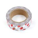 Washi tape – Listras diagonais branca e metalizado dourado, prata e vermelho1