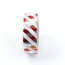 Washi tape – Listras diagonais branca e metalizado dourado, prata e vermelho2
