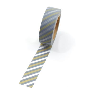Washi tape – Listras diagonais cinza, ocre e branco5