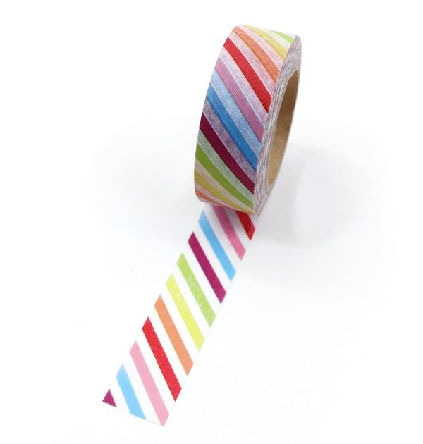 Washi tape – Listras diagonais coloridas