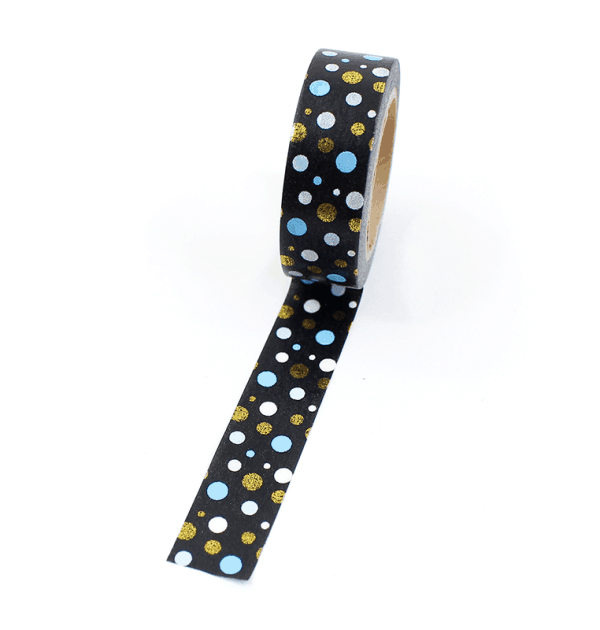 Washi tape – Preto com bolinhas brancas, azuis e douradas